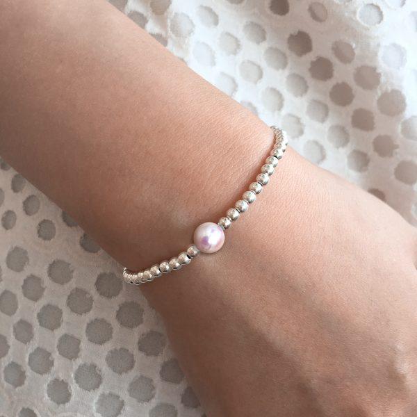 Pink Akoya Pearl Silver Balls Bracelet