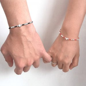 Silver Cube Bead Couples Bracelet
