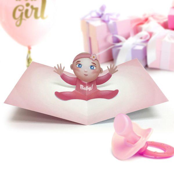 Baby Girl Pop Up Card