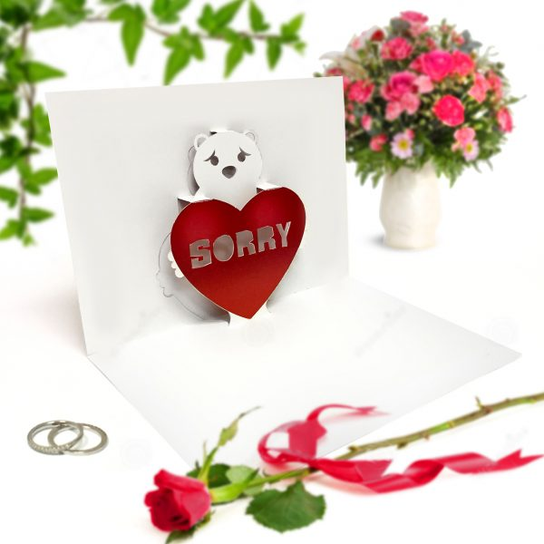 Sorry Red Bear Pop Up Card