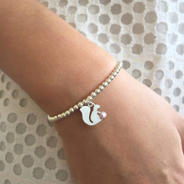 Akoya Pearl Squirrel Charm Silver Ball Bracelet