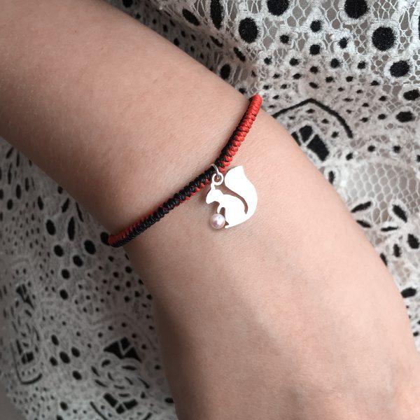 Akoya Pearl Squirrel Charm String Bracelet