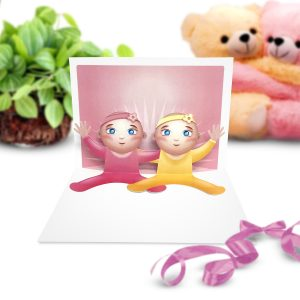 Baby Twins Pop Up Card