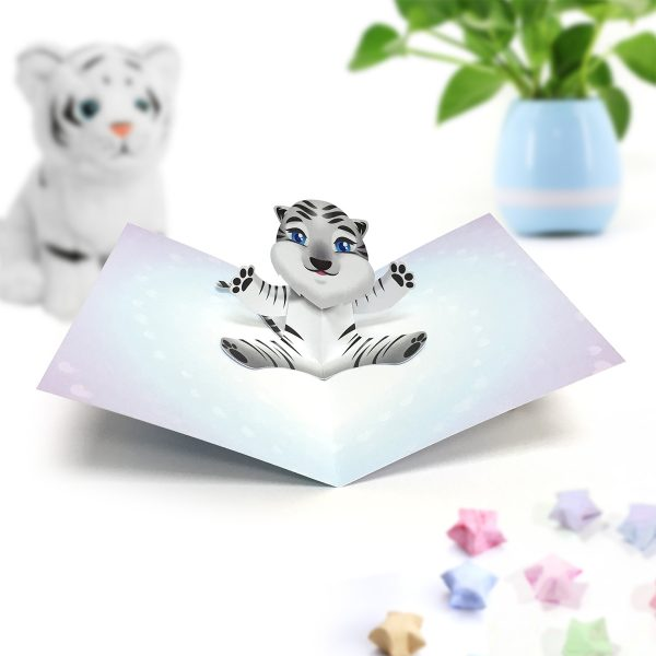 Bengal White Tiger Pop Up Card